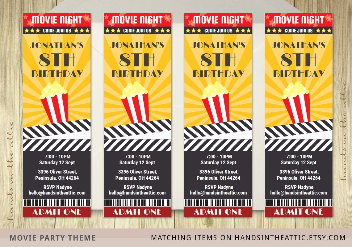Printable Movie Ticket Invitations Lovely Movie Ticket Invite Invitation Ticket Film by Handsintheattic