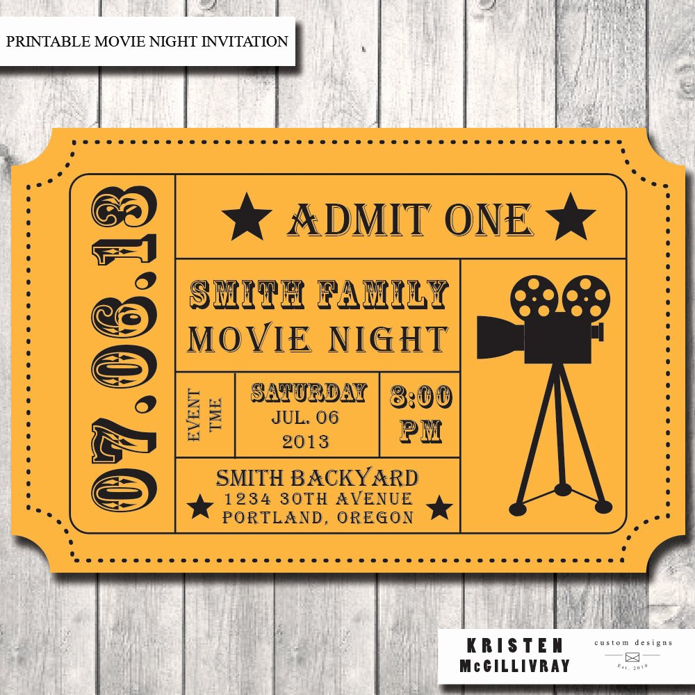 Printable Movie Ticket Invitations Lovely Movie Ticket Template