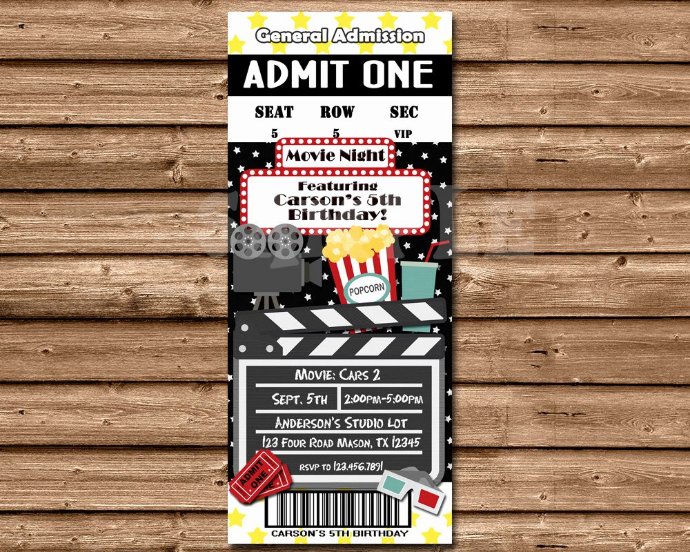 Printable Movie Ticket Invitations Luxury Chandeliers & Pendant Lights