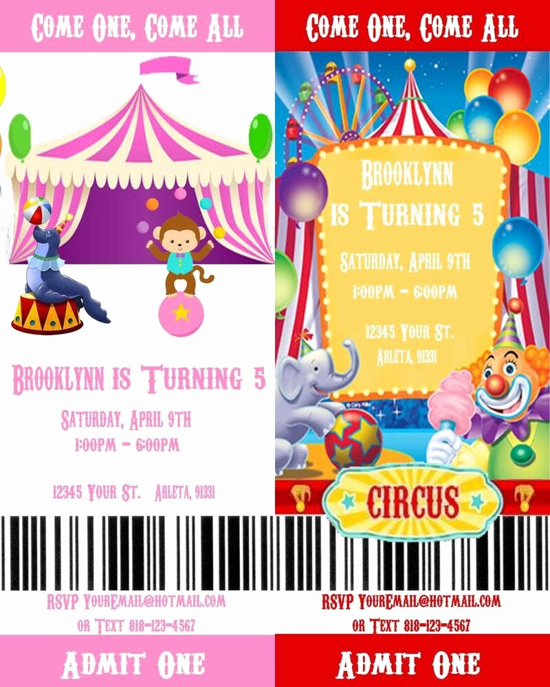 Printable Movie Ticket Invitations Luxury Circus Carnival Printable Movie Ticket Style Birthday