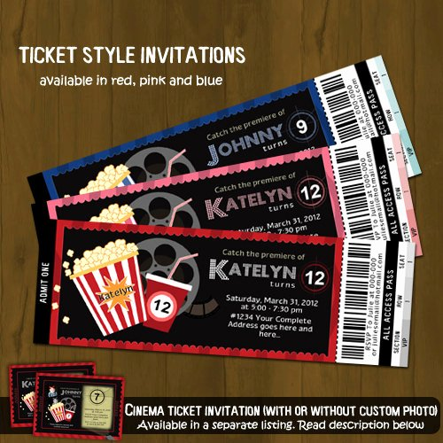 Printable Movie Ticket Invitations Luxury Movie Night Ticket Invitation On Storenvy