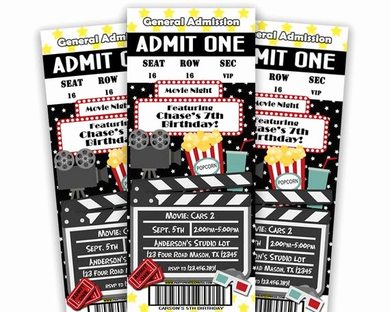 Printable Movie Ticket Invitations Luxury Printable Movie Ticket Invitation Movie by Partyprintexpress