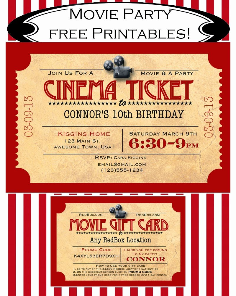 Printable Movie Ticket Invitations Unique Like Mom and Apple Pie A Summer Movies Free Printables