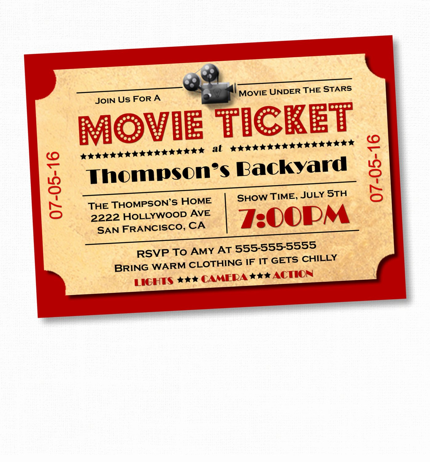 Printable Movie Ticket Invitations Unique Movie Night Invitation Movie Party Invitation Movie Night