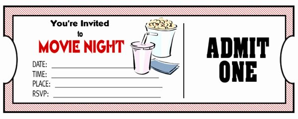 Printable Movie Ticket Invitations Unique Movie Ticket Template Free Download Clipart Best