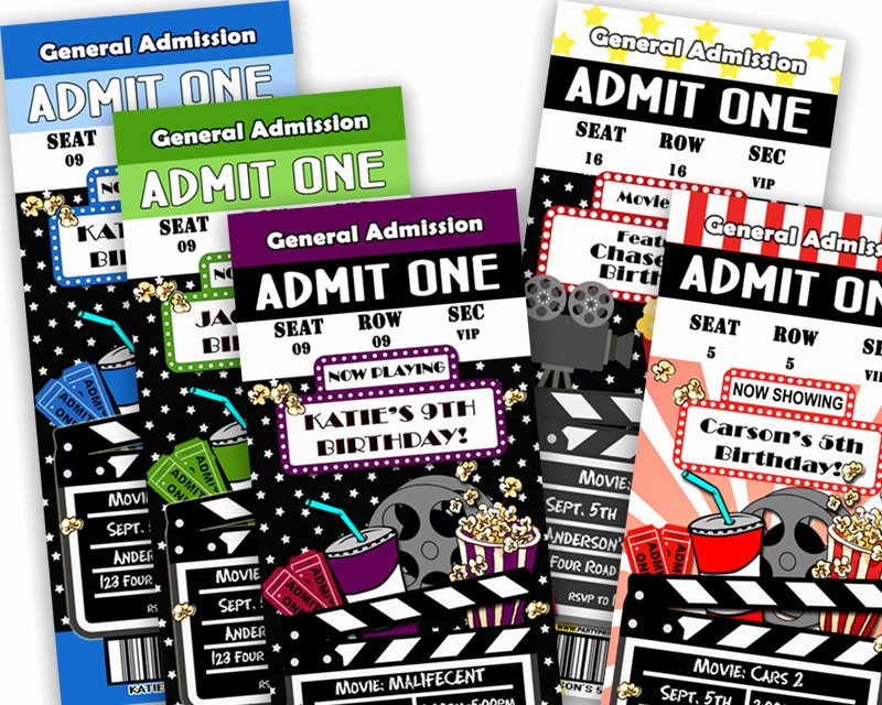 Printable Movie Ticket Invitations Unique Printable Movie Ticket Invitation Movie Birthday Party