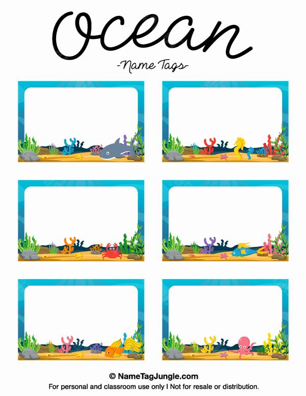 Printable Name Tags for Preschool Lovely Printable Ocean Name Tags