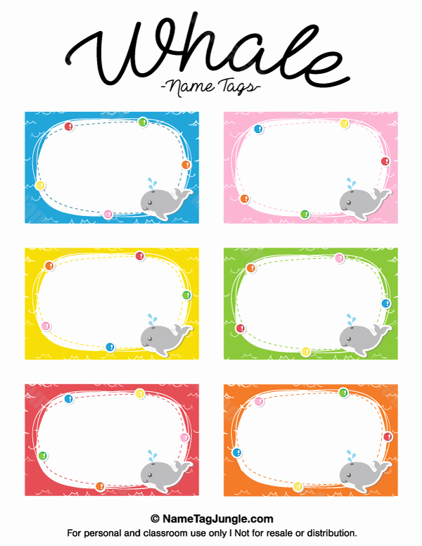 Printable Name Tags for Preschool Luxury Free Printable Whale Name Tags the Template Can Also Be