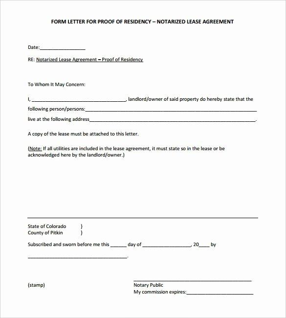 Printable Notarized Letter Of Residency Template Beautiful Proof Residency Letter Notarized Template