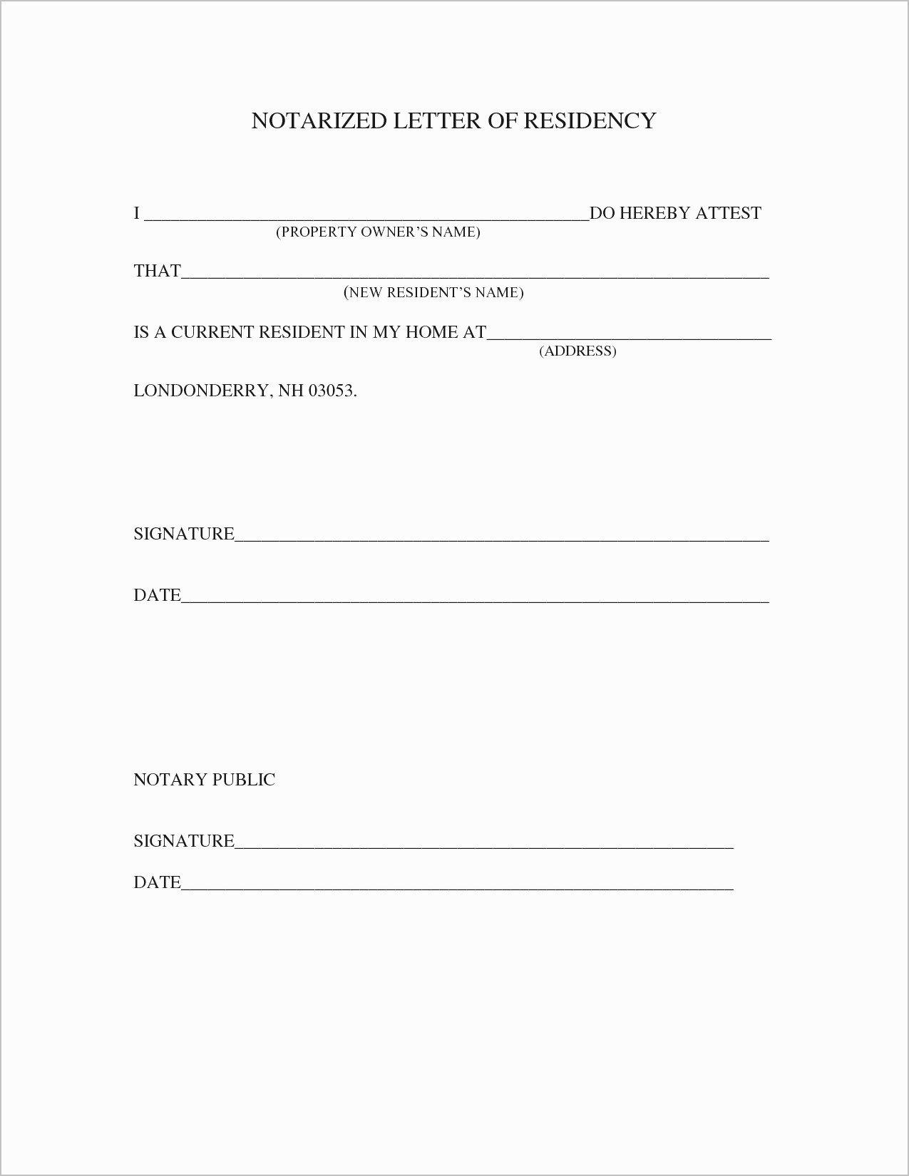 Printable Notarized Letter Of Residency Template Beautiful Proof Residency Letter Notarized Template Samples