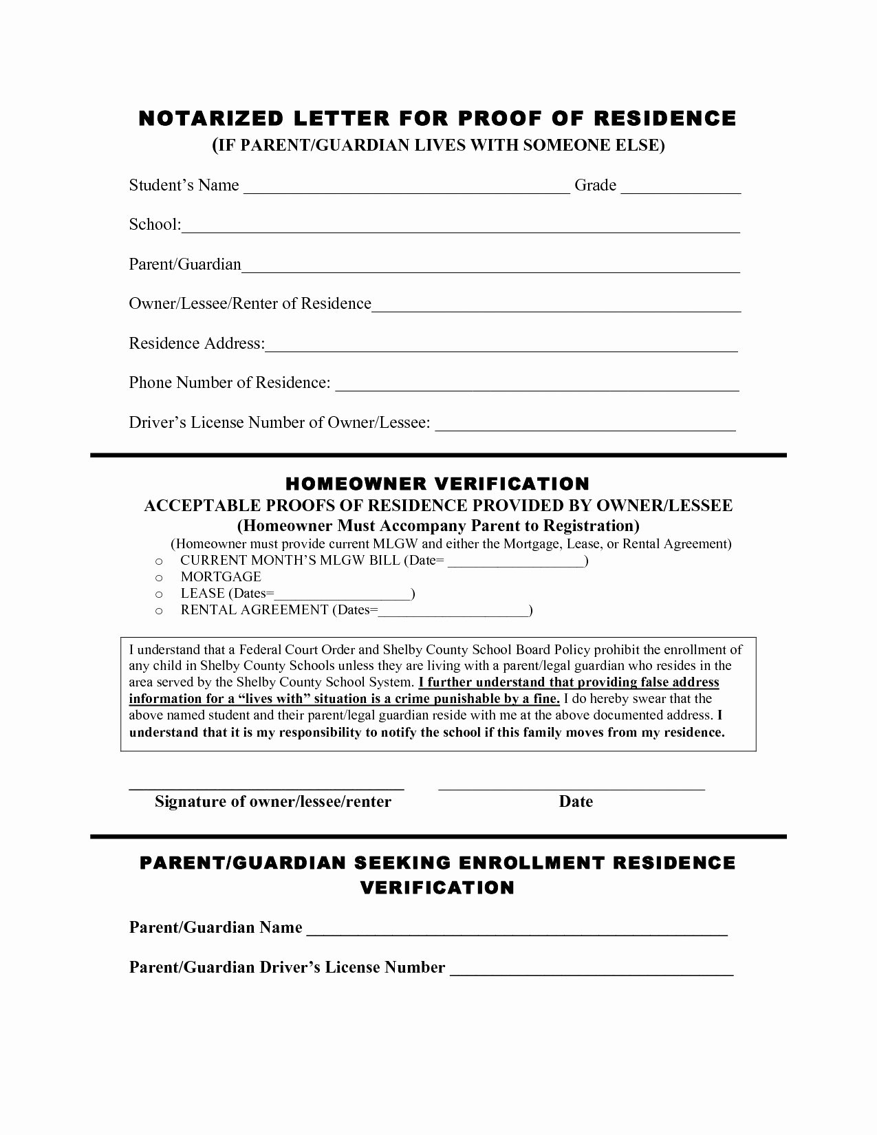 Printable Notarized Letter Of Residency Template Inspirational Notarized Proof Residency Letter for School