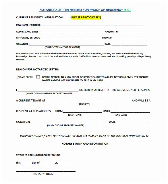 Printable Notarized Letter Of Residency Template Lovely 7 Notarized Letter Template Doc Pdf