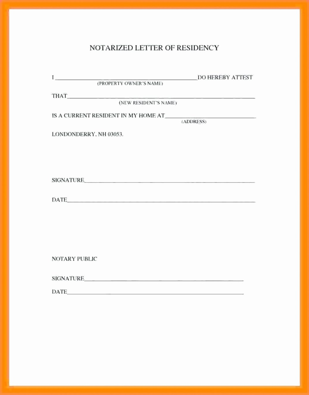 Printable Notarized Letter Of Residency Template Unique Proof Residency Letter Notarized Template Gallery
