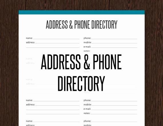 Printable Phone Book Template Best Of Address & Phone Directory Fillable Printable