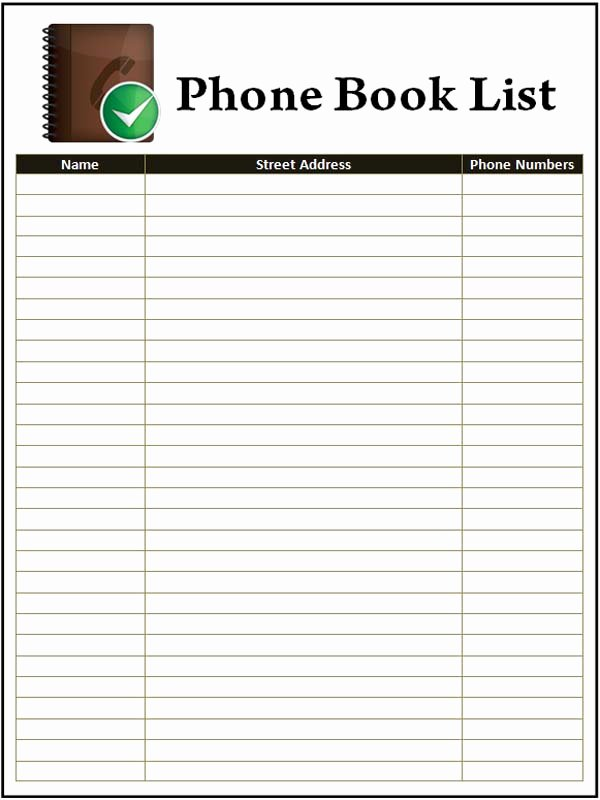 Printable Phone Book Template Luxury 7 Best Of Phone Book Template Printable Printable