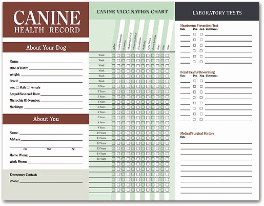 Printable Puppy Shot Record Beautiful Canine Health Records