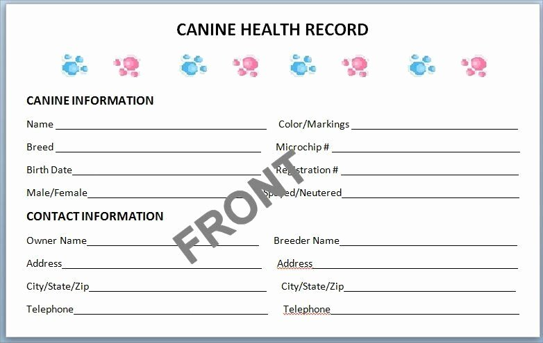Printable Puppy Shot Records Awesome Canine Health Records Set Of 10 Litter Record Breeder