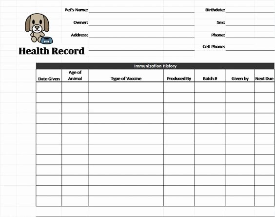 Printable Puppy Shot Records Lovely Pet Health Record Template Pet Care Pinterest