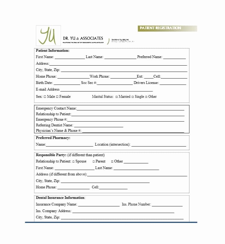 Printable Registration form Template Awesome 44 New Patient Registration form Templates Printable