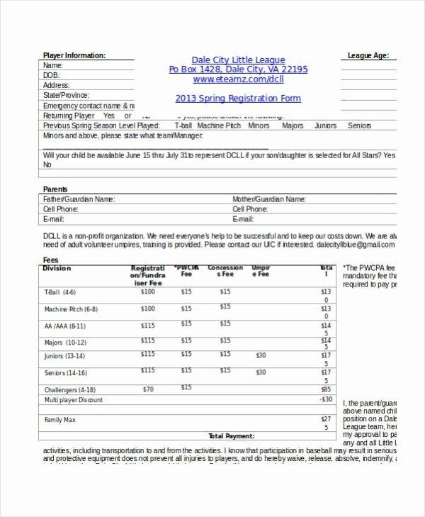 Printable Registration form Template Beautiful Registration form Template 9 Free Pdf Word Documents
