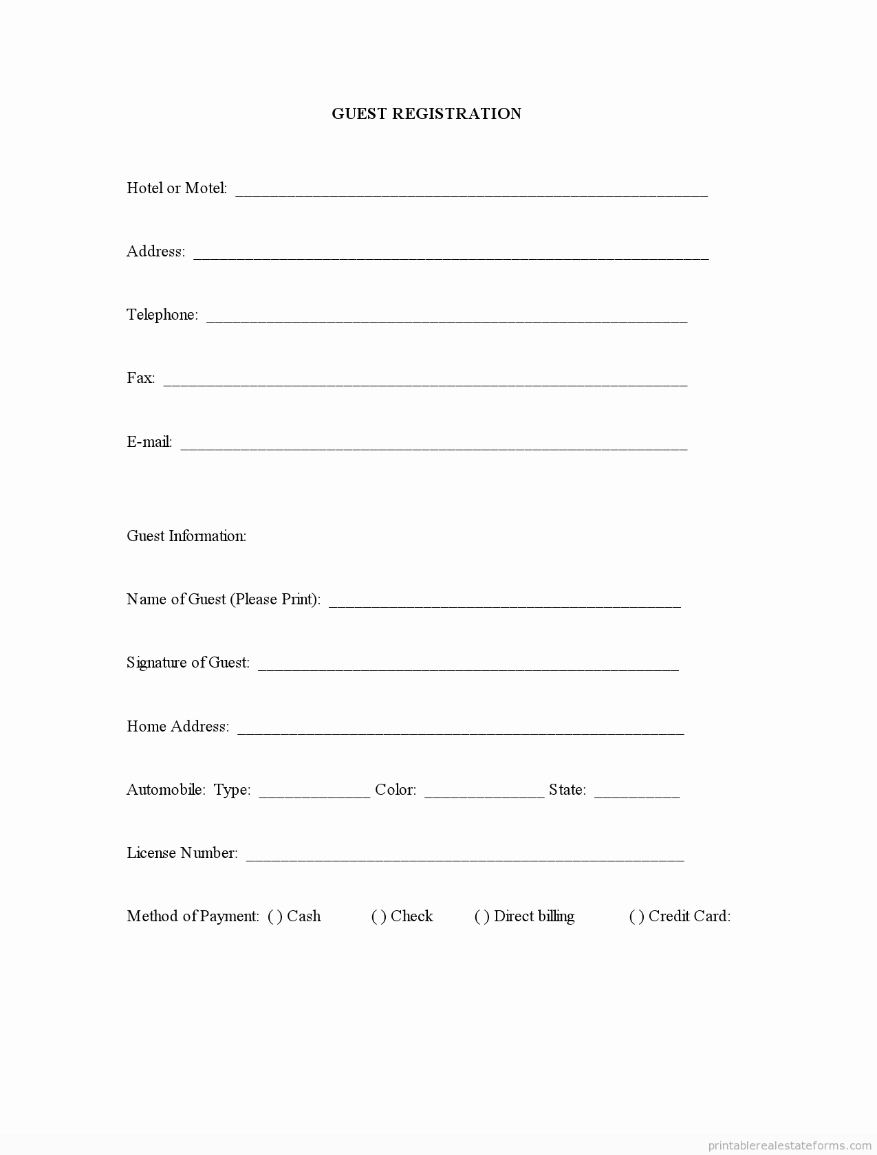 Printable Registration form Template Elegant Sample Printable Guest Registration form