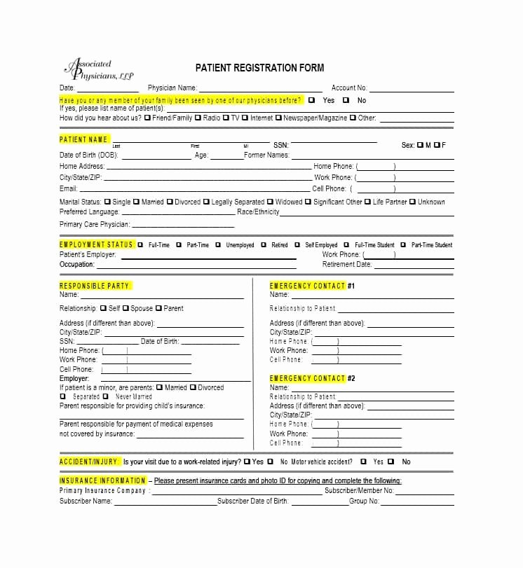Printable Registration form Template Fresh 44 New Patient Registration form Templates Printable