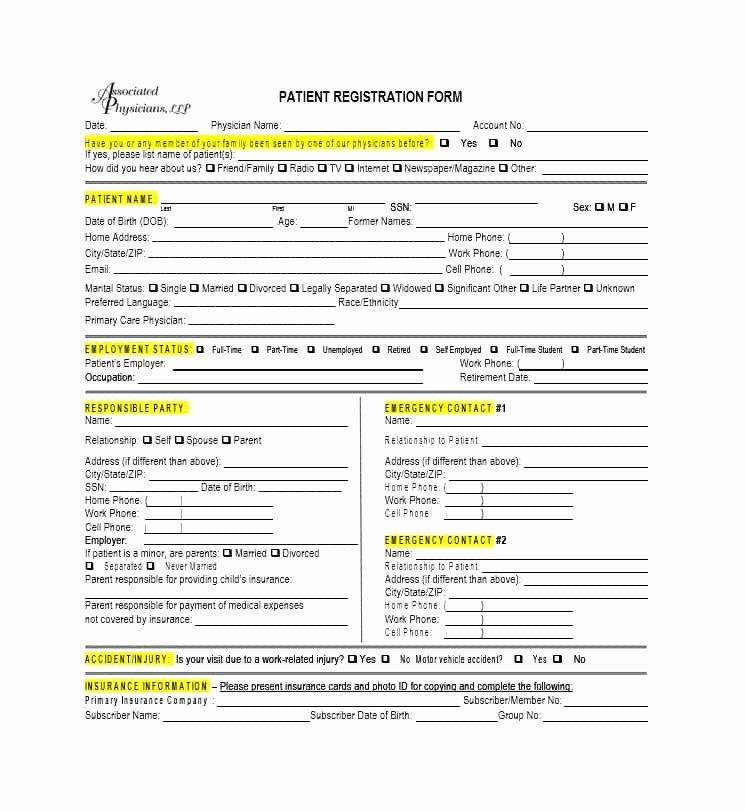 Printable Registration form Template Fresh 44 New Patient Registration form Templates Printable