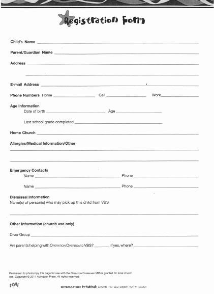 Printable Registration form Template Fresh Church Nursery forms thenurseries