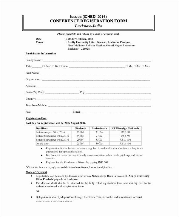 Printable Registration form Template Inspirational Printable Registration form Templates 9 Free Pdf