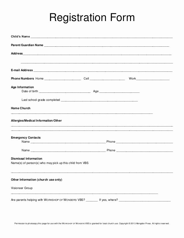 Printable Registration form Template Inspirational Registration form Child's Name