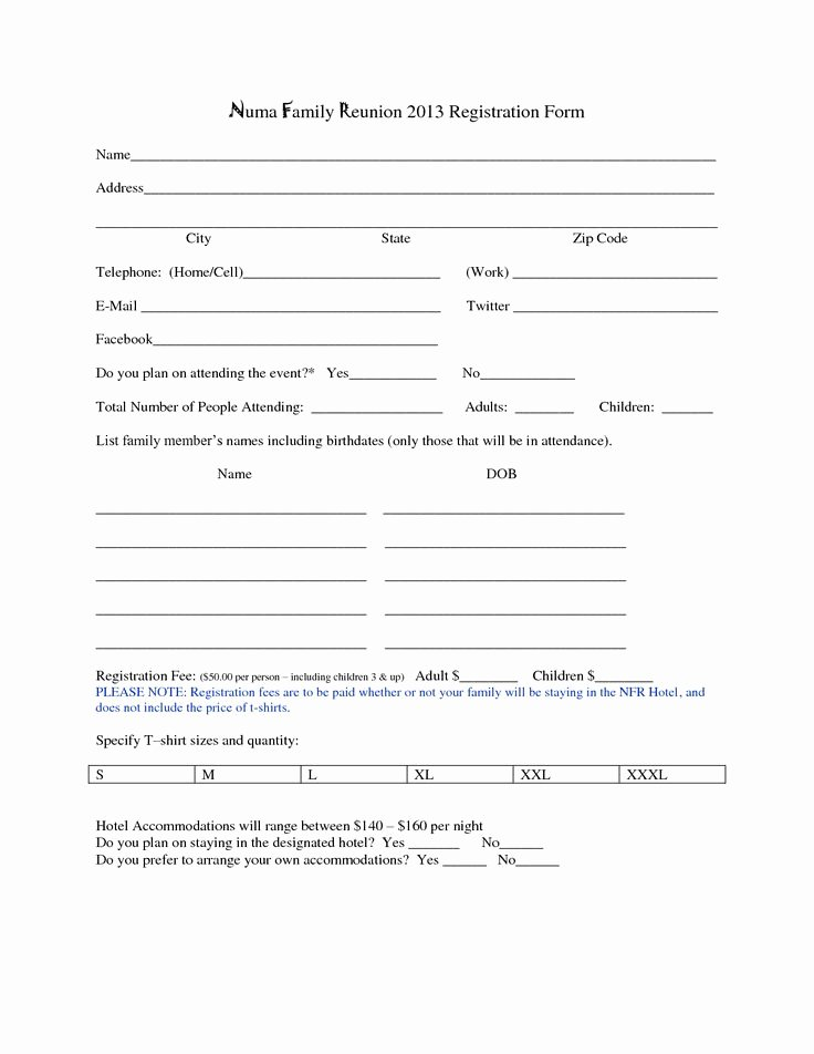 Printable Registration form Template Luxury Family Reunion Registration form Template