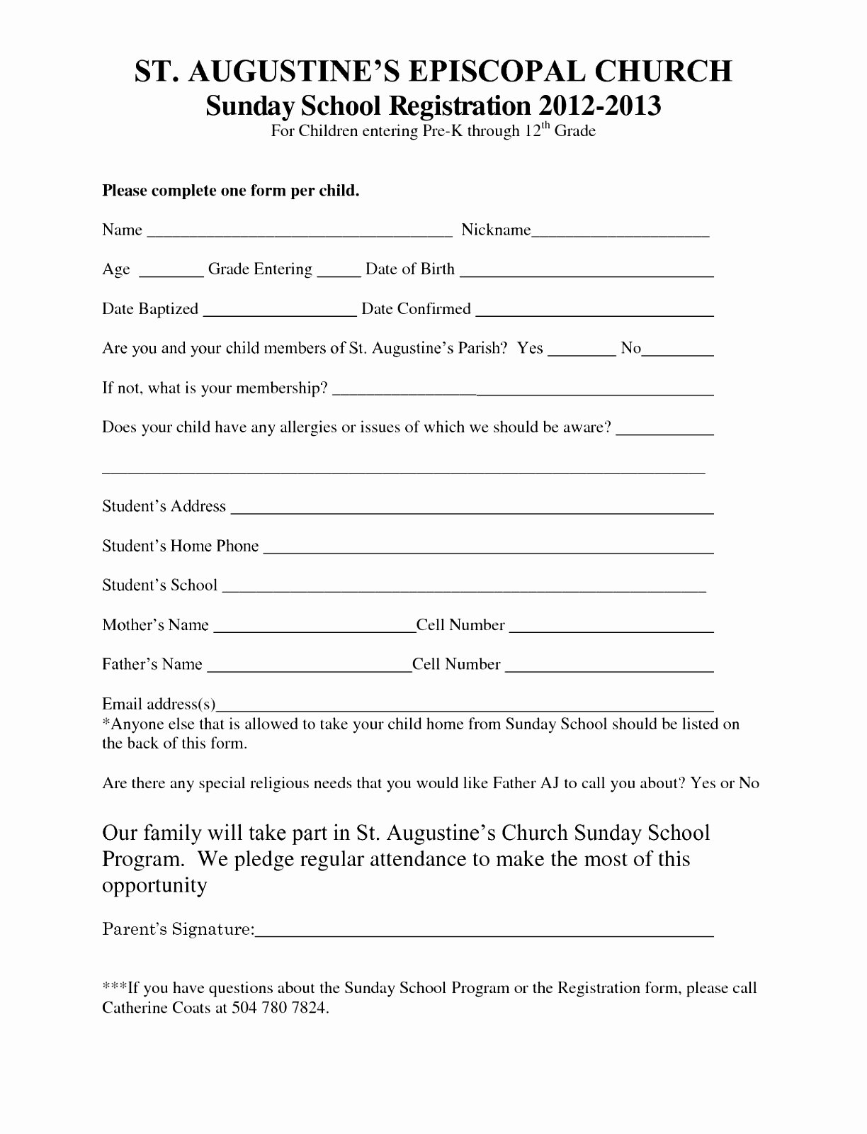 Printable Registration form Template New 7 Sunday School Registration form Template Cutei