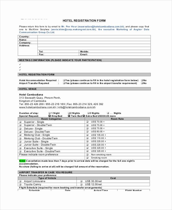 Printable Registration form Template New Printable Registration form Templates 9 Free Pdf