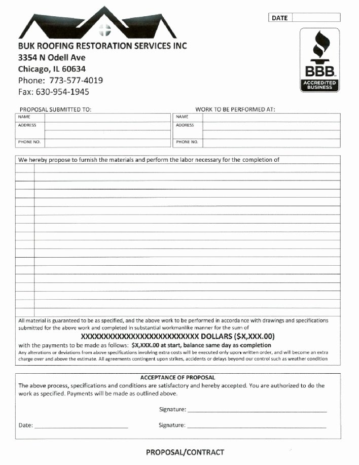 Printable Roofing Contracts Beautiful Roofing Contract Free Printable Documents