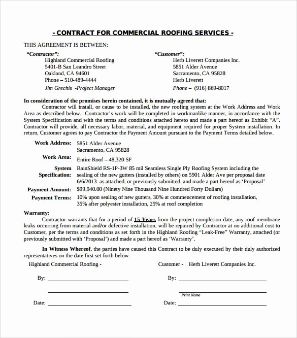 Printable Roofing Contracts Fresh Roofing Contract Template 9 Download Documents In Pdf