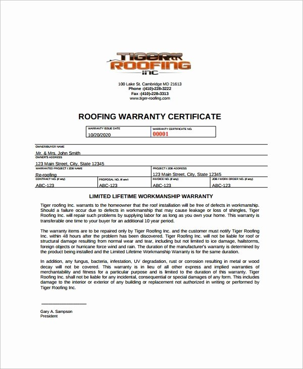 Printable Roofing Contracts Lovely Roofing Warranty Letter & Roofing Contract Template Free