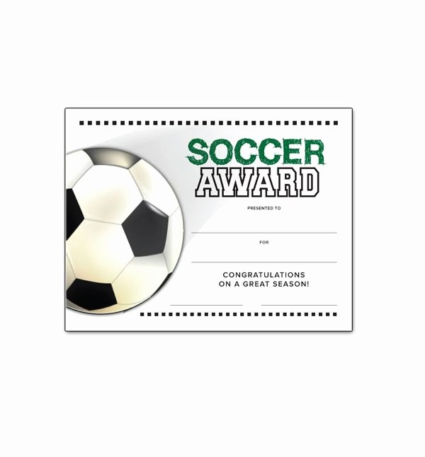 Printable soccer Certificate Fresh soccer End Of Season Award Certificate Free