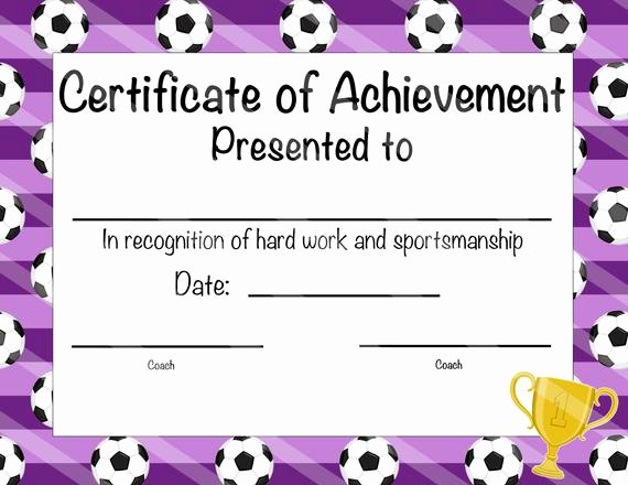 Printable soccer Certificate Inspirational soccer Certificate Of Participation soccer Award Print at