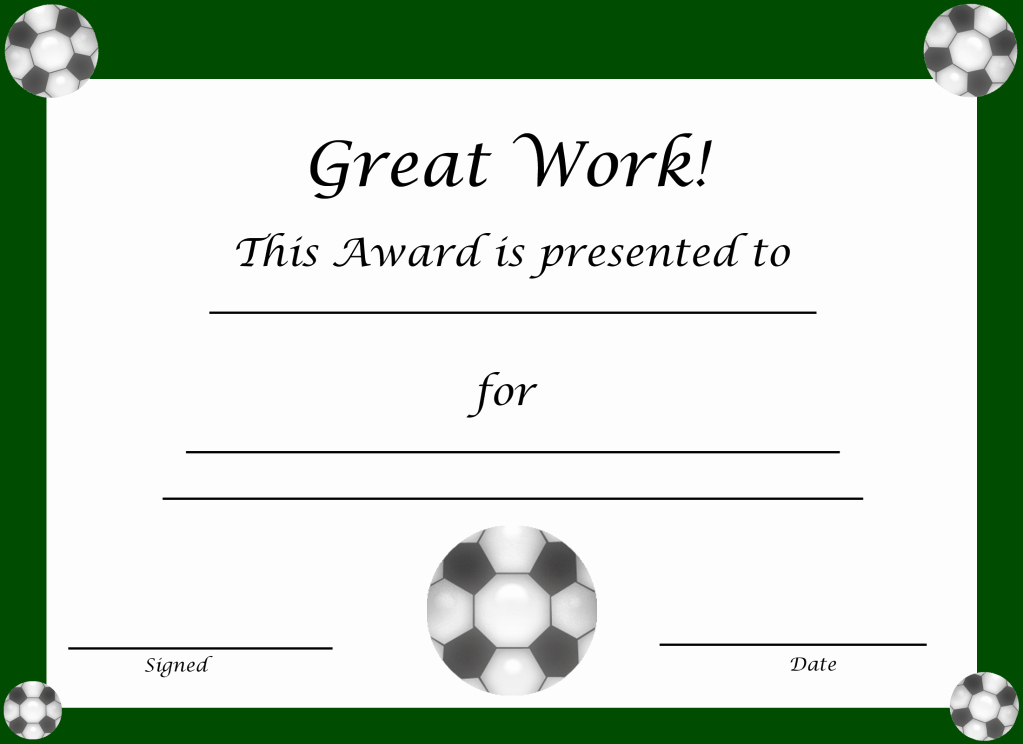 Printable soccer Certificate Lovely Free Printable Award Certificates for Kids
