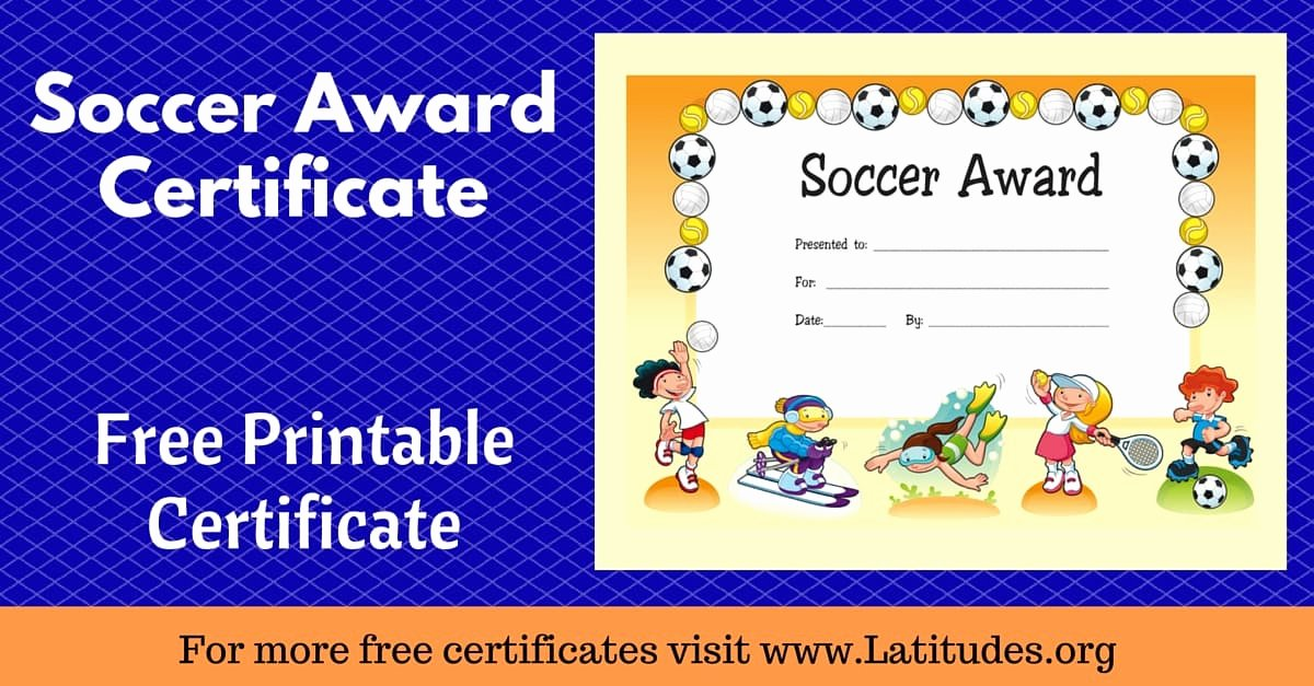 Printable soccer Certificate Luxury Free Award Certificate for soccer Primary