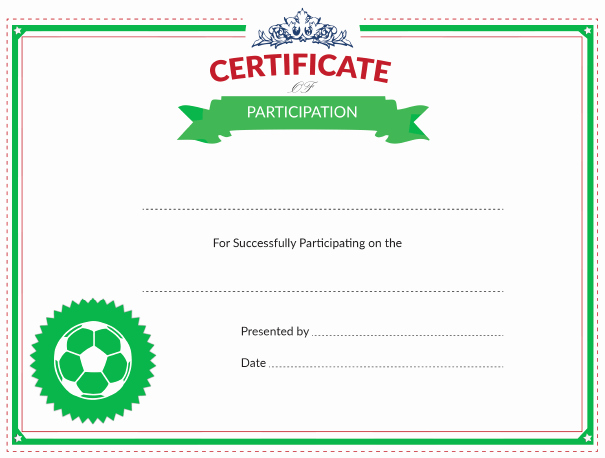 Printable soccer Certificate Luxury Printable soccer Certificate Of Participation Award