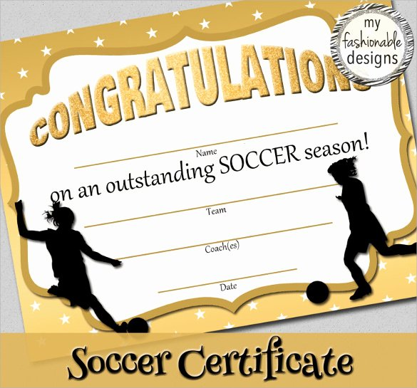 Printable soccer Certificate New 15 soccer Certificate Templates to Download