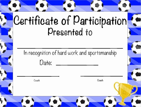Printable soccer Certificate New 25 Sample Participation Certificate Psd Pdf Word Ai