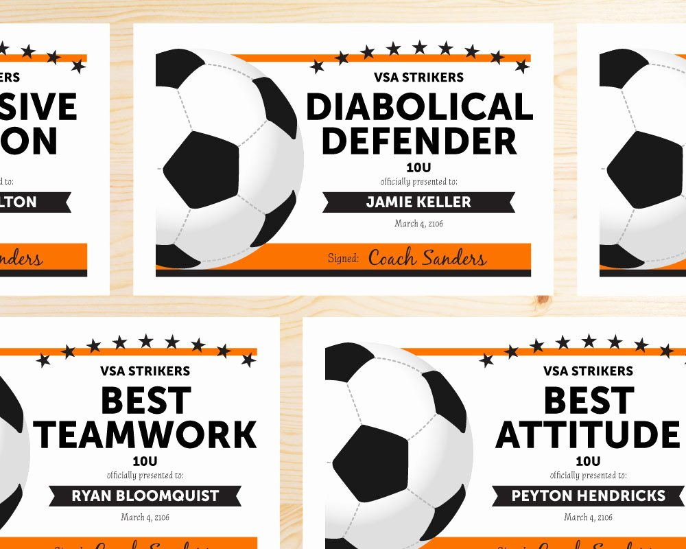 Printable soccer Certificate New Editable soccer Award Certificates Instant Download