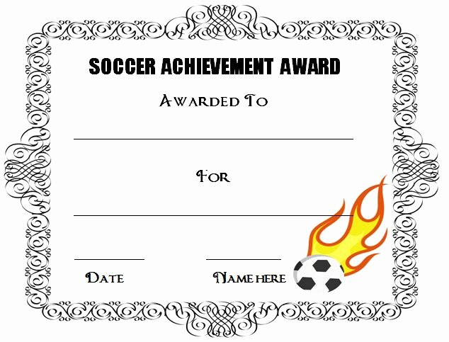 Printable soccer Certificate Unique 30 soccer Award Certificate Templates Free to Download