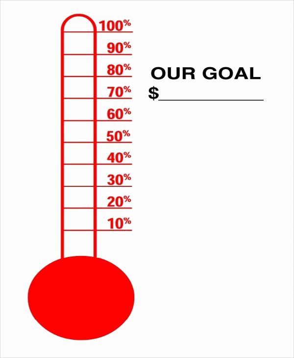 Printable thermometer Goal Chart Fresh Fundraising thermometer Template