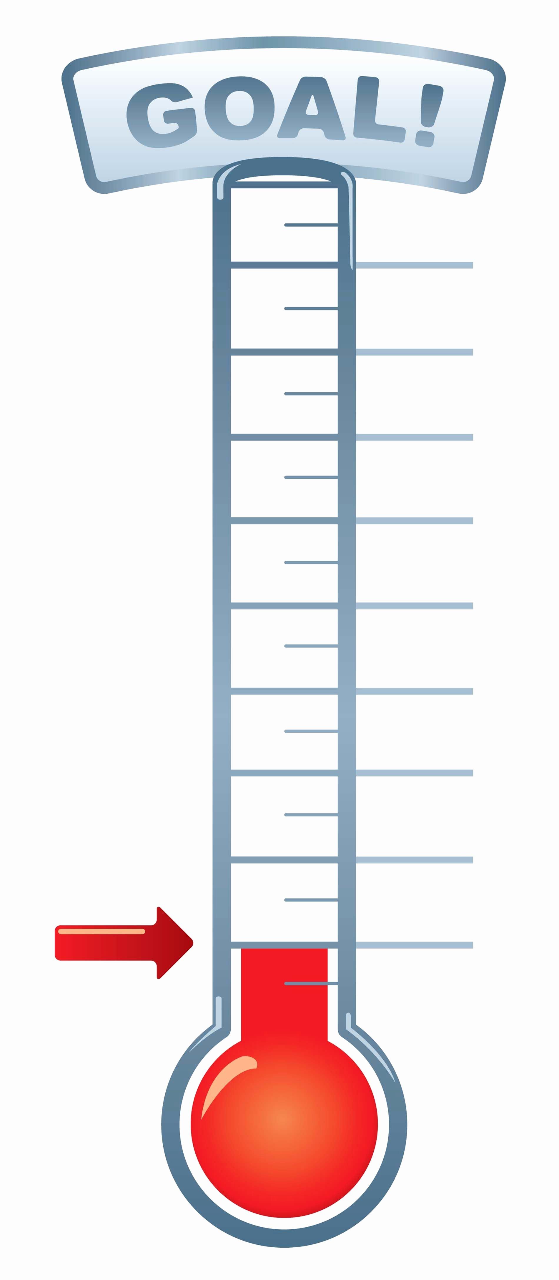 Printable thermometer Goal Chart Lovely Goal thermometer Printable for Clipart 1 900×4 349