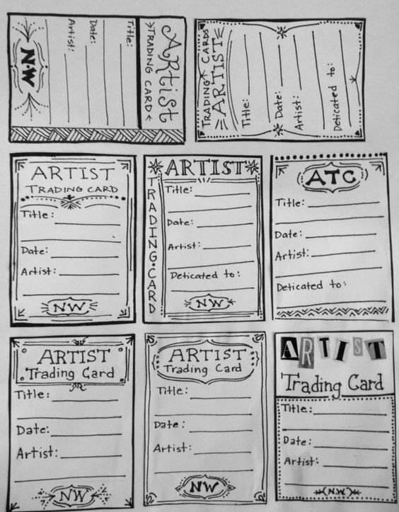 Printable Trading Card Template Fresh Artist Trading Card Template for Back Of atc S