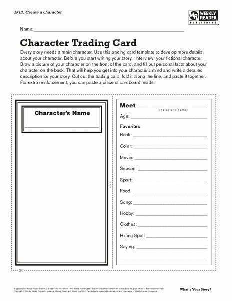 Printable Trading Card Template Luxury Character Trading Card Lesson Plan for 7th 8th Grade