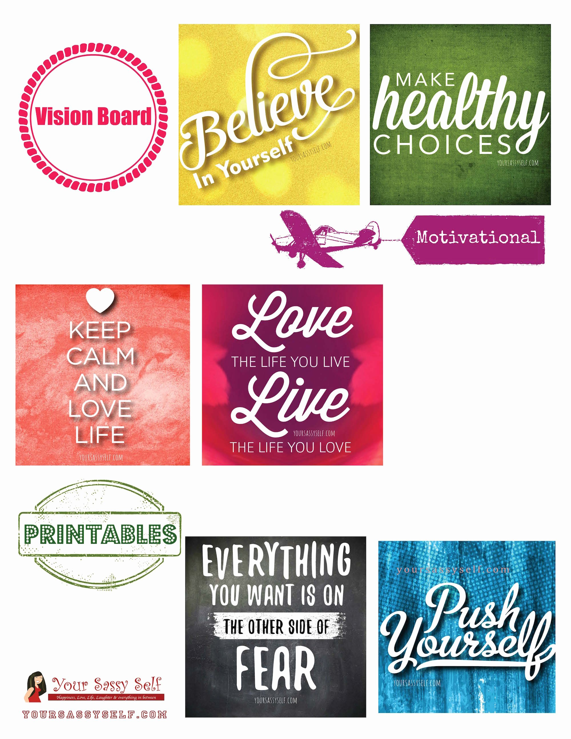 Printable Vision Board Template Awesome Vision Board to Live the Life You Want Your Sassy Self